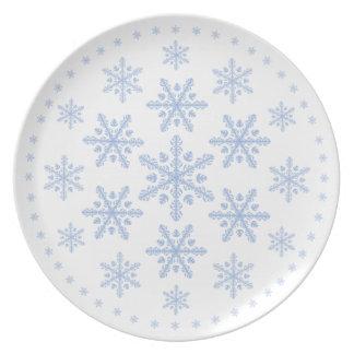 Placa bonita del copo de nieve plato de cena