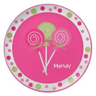 Placa bonita del personalizado de Lollypops Plato De Cena
