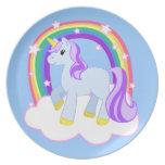 Placa bonita mágica del unicornio plato