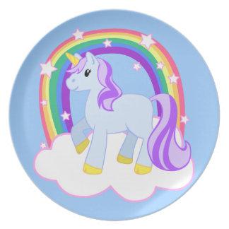 Placa bonita mágica del unicornio platos de comidas