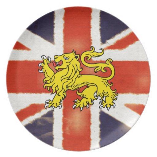 Placa BRITÁNICA del escudo de armas de la bandera  Plato Para Fiesta