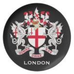 Placa BRITÁNICA del escudo de armas de Londres Plato Para Fiesta