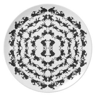 Placa Bucking de la mandala del rodeo del caballo  Plato De Comida