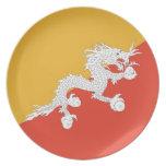 Placa butanesa de la bandera plato