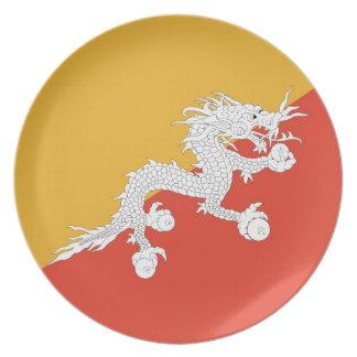 Placa butanesa de la bandera platos para fiestas