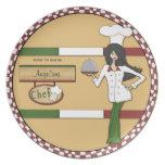 Placa cabelluda personalizada del cocinero del cue platos