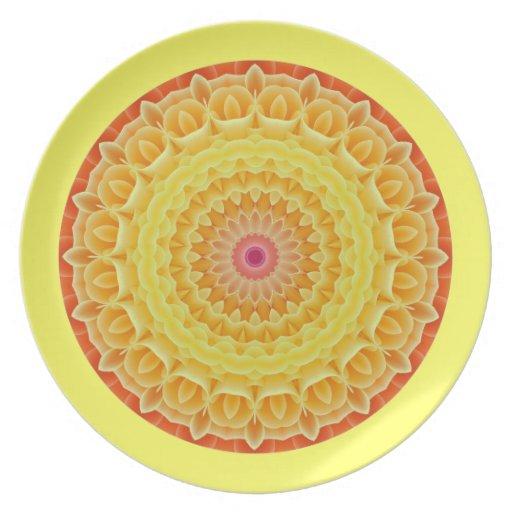 Placa Caleidoscopio-temática amarilla de la melami Platos De Comidas