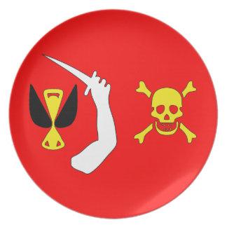 Placa cambiante de la bandera de pirata de Christo Platos De Comidas