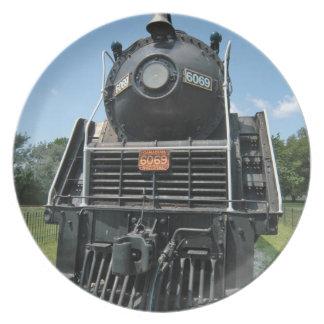Placa canadiense de la locomotora del vintage plato para fiesta