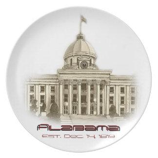 Placa capital del edificio de Alabama Plato
