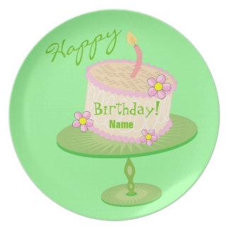Placa caprichosa de encargo de la torta de plato para fiesta