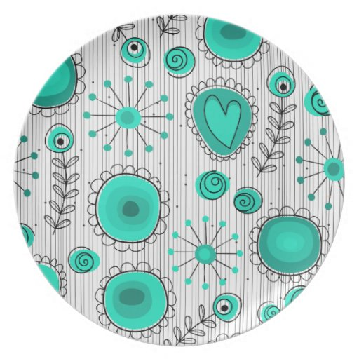 Placa caprichosa de la turquesa de las flores plato para fiesta