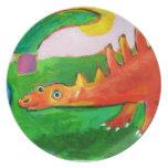 Placa caprichosa del dinosaurio platos para fiestas