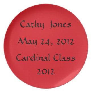 Placa cardinal de la clase plato para fiesta