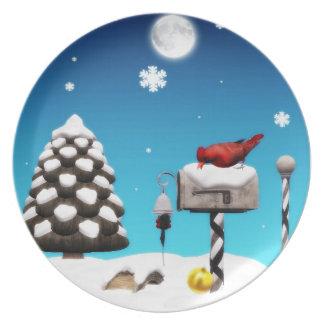 placa cardinal del día de fiesta del navidad plato de cena