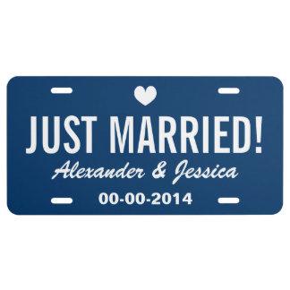 Placa casada del personalizado apenas para casar placa de matrícula