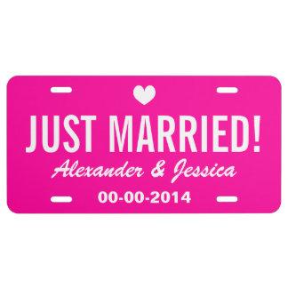 Placa casada del rosa apenas para casar el coche placa de matrícula