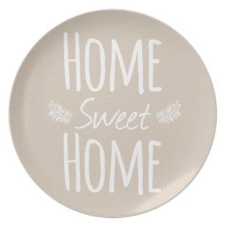 Placa casera dulce casera de la tipografía plato de comida