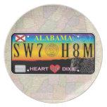 Placa casera dulce de Alabama (series del mapa) Plato De Cena