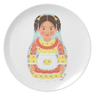 Placa chilena de Matryoshka del chica Platos