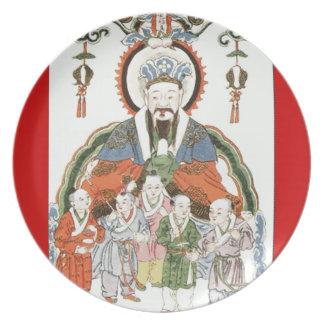 Placa china de dios de la cocina de Zao junio Platos Para Fiestas
