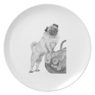 Placa china del barro amasado plato de cena