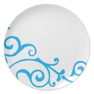 Placa (ciánica) de la marfil del cirro plato de cena