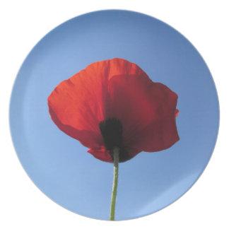 Placa - cielo azul de la amapola roja platos de comidas