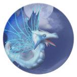 Placa coa alas del dragón en vuelo platos para fiestas