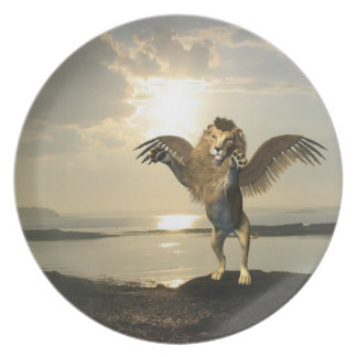 Placa coa alas del león plato de comida