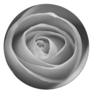 Placa color de rosa blanco y negro plato