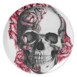 Placa color de rosa del cráneo platos para fiestas