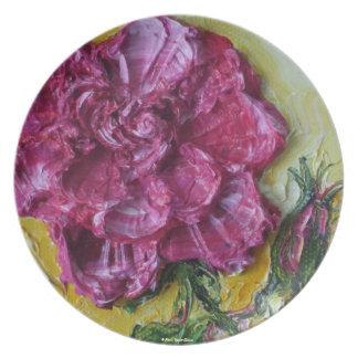 Placa color de rosa rosada platos de comidas