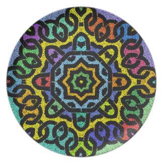 Placa colorida de Knotwork Platos