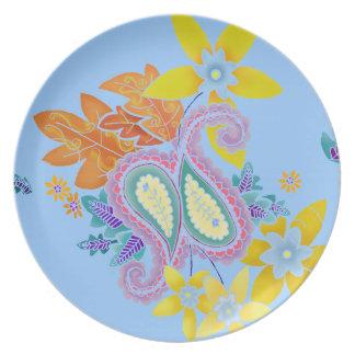 Placa colorida de la plantilla de Paisley Platos Para Fiestas