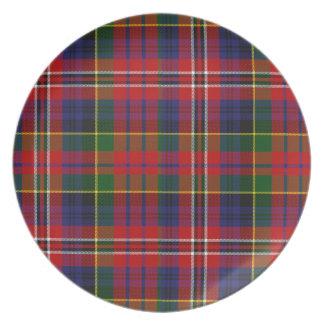 Placa colorida de la tela escocesa de tartán de Ma Platos