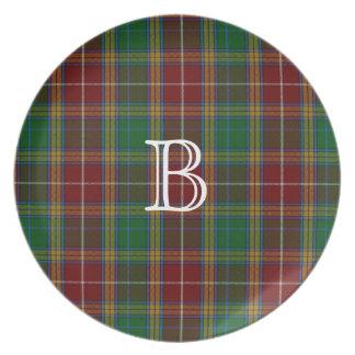 Placa colorida de la tela escocesa de tartán del m plato para fiesta