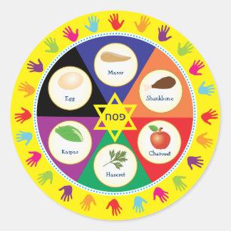 Placa colorida de Seder del Passover de los niños Pegatina Redonda