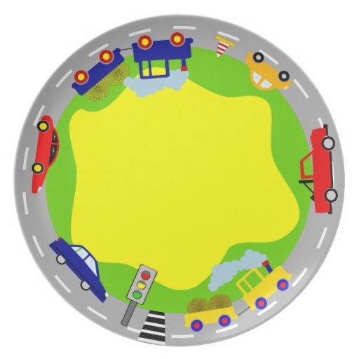 Placa colorida del fiesta de los coches platos
