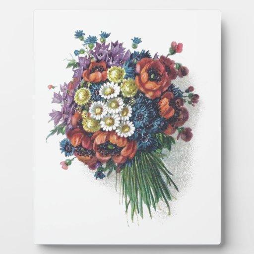 Placa colorida del ramo floral del vintage