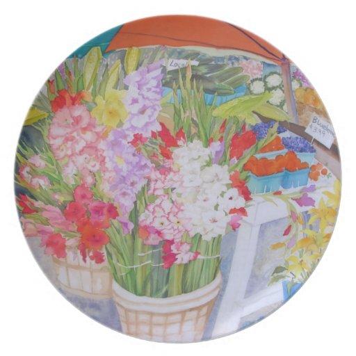 Placa colorida del soporte de la granja plato para fiesta