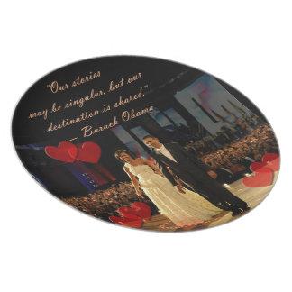 Placa compartida del destino platos para fiestas
