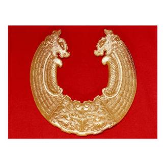 Placa con dos dragones y una máscara del TAO-lazo Tarjeta Postal
