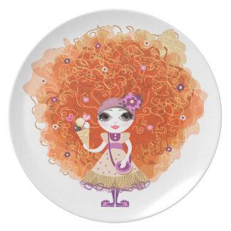 Placa con el carácter divertido del chica plato de cena