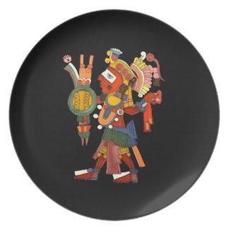 Placa con el guerrero indio maya adornado plato de cena