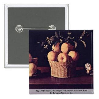 Placa con la cesta de naranjas y de limones pin