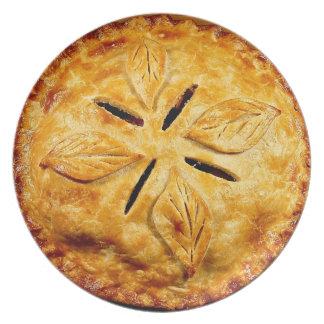 Placa con la empanada de manzana plato