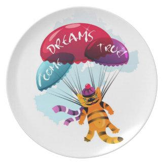 Placa con la imagen del gato de vuelo plato de comida