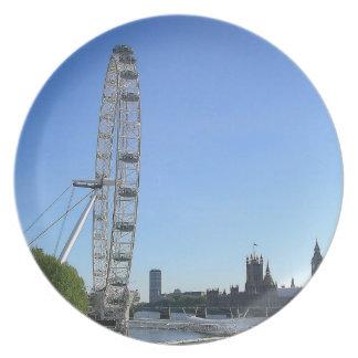 Placa con la noria del ojo de Londres Plato De Comida