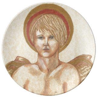 Placa con la pintura del ángel de Haloed Platos De Cerámica